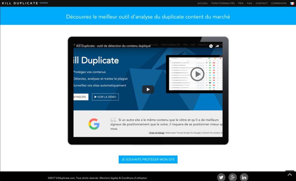 KillDuplicate outils d'analyse du contenu dupliqué