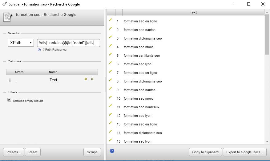 Plugin Scraper de Chrome pour les recherches associées